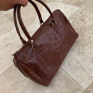 Brown genuine leather Boston handbag